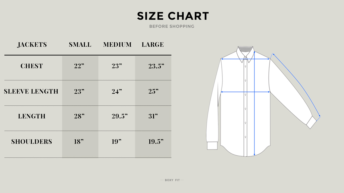 Camp Collar Overshirt - thecrucialthings lookbook - Size Chart