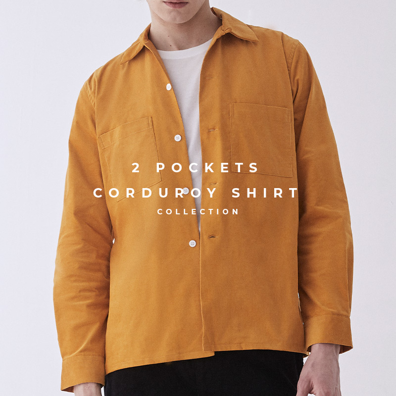 2 pockets corduroy camp collar shirt in lookbook page - เสื้อเชิ้ต ลูกฟูก