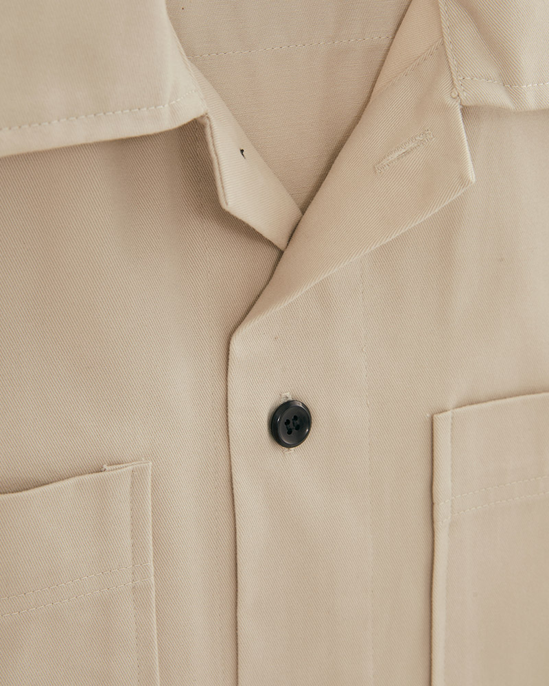 2 pockets cotton twill shirt in off-white - lookbook