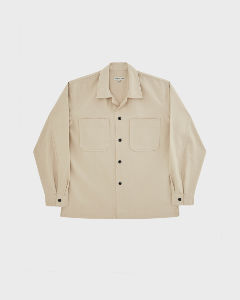 2 pockets cotton twill shirt in off-white - lookbook - pack shot