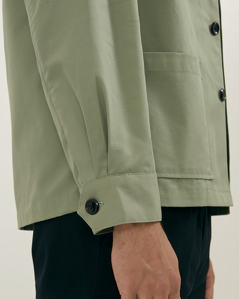 Chore jacket in mint green - buttoned cuffs
