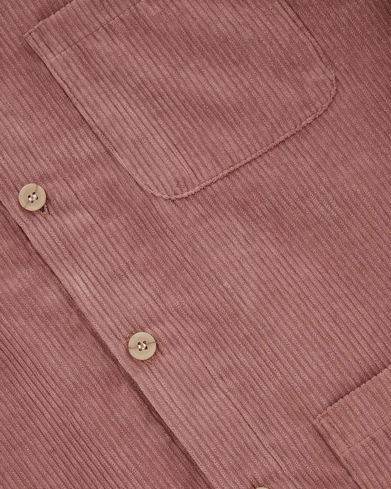 4 Pockets Corduroy Jacket in Pink - Fabric Detail