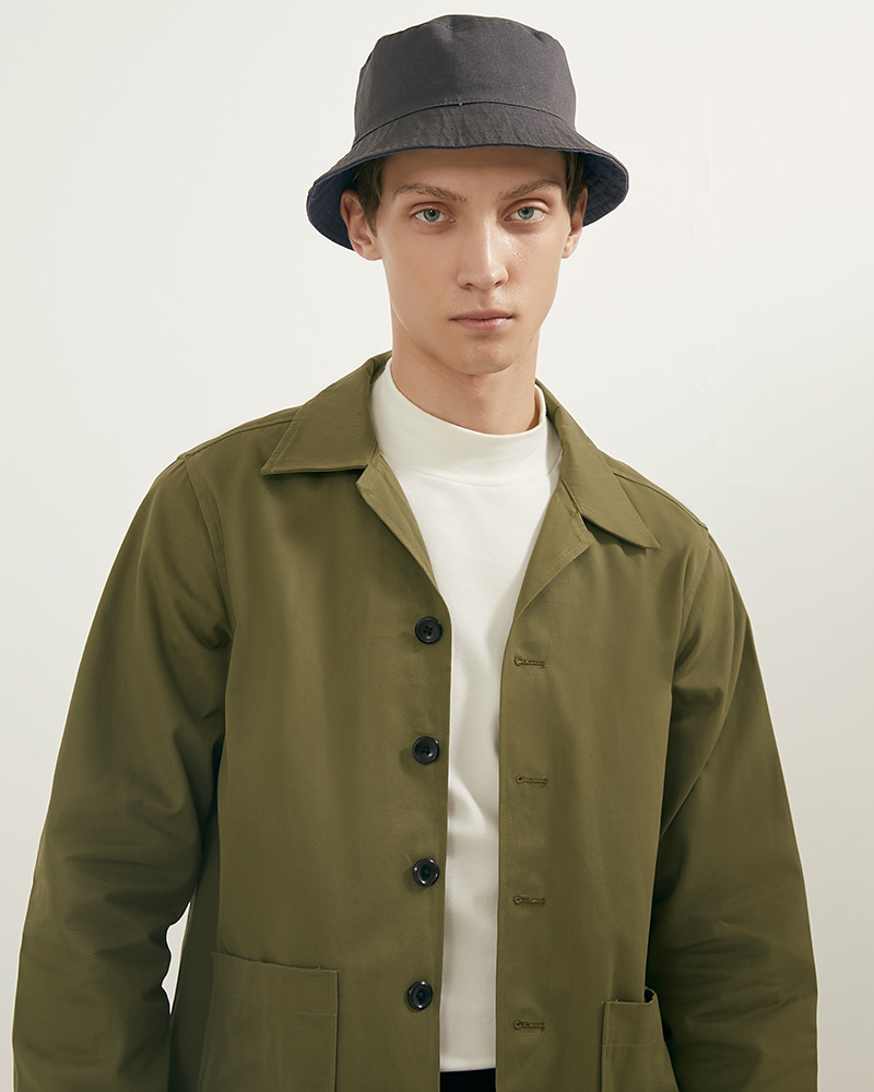 Camp Collar hip pockets jacket lookbook 2 - military green