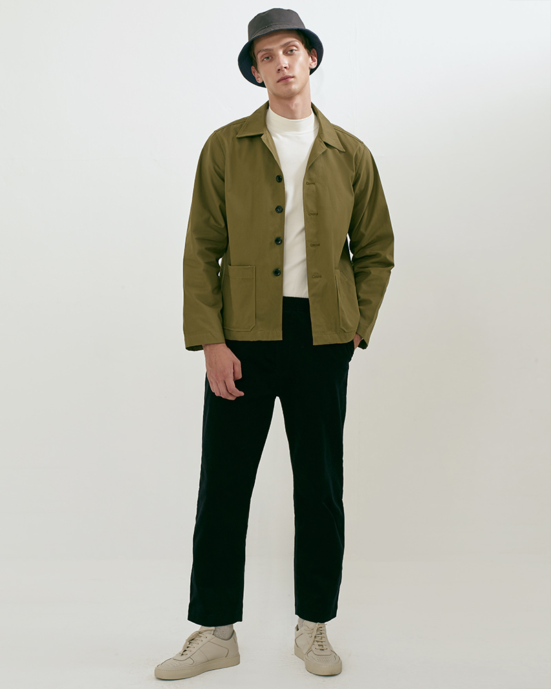 Camp Collar hip pockets jacket lookbook 3 - military green