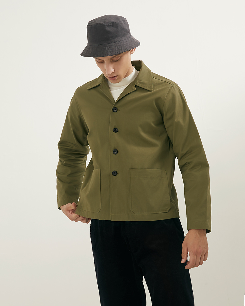 Camp Collar hip pockets jacket lookbook 4 - military green