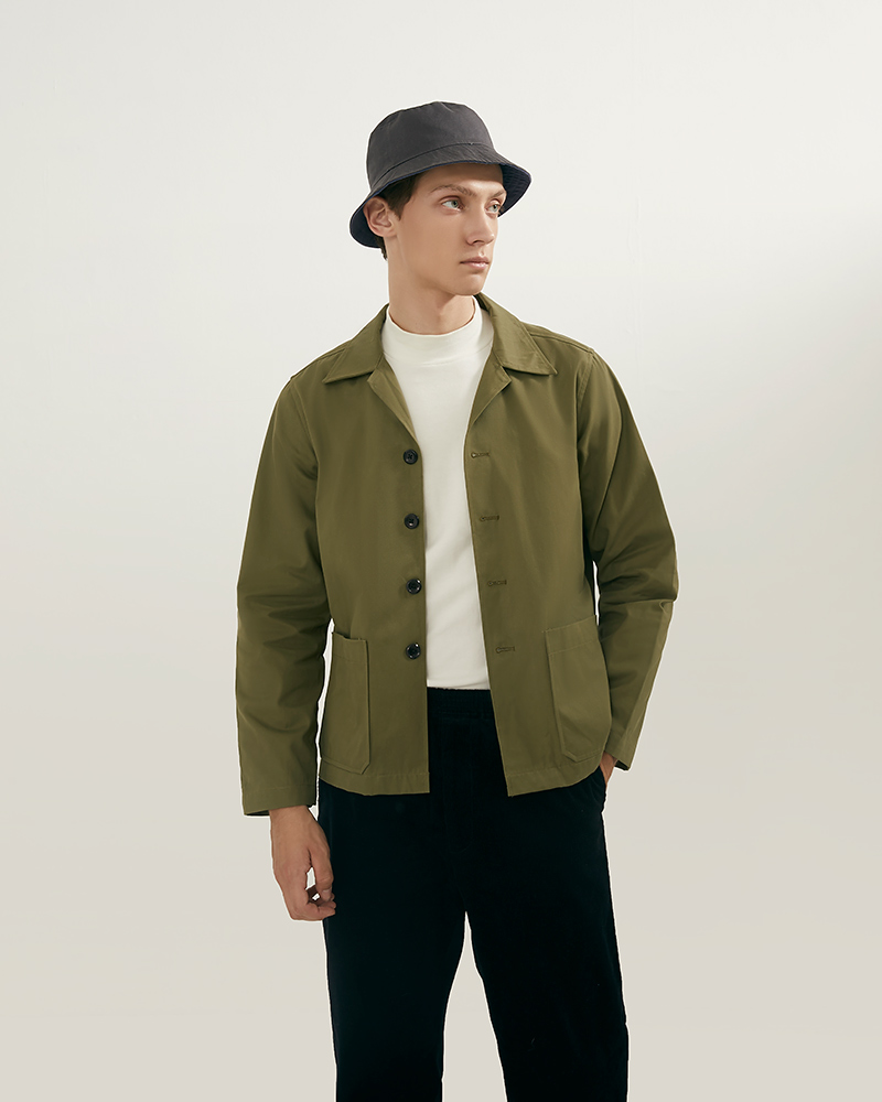 Camp Collar hip pockets jacket lookbook - military green