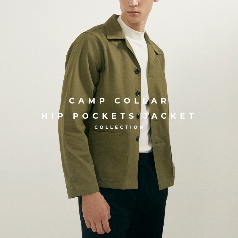 Camp Collar hip pockets jacket lookbook cover - military green