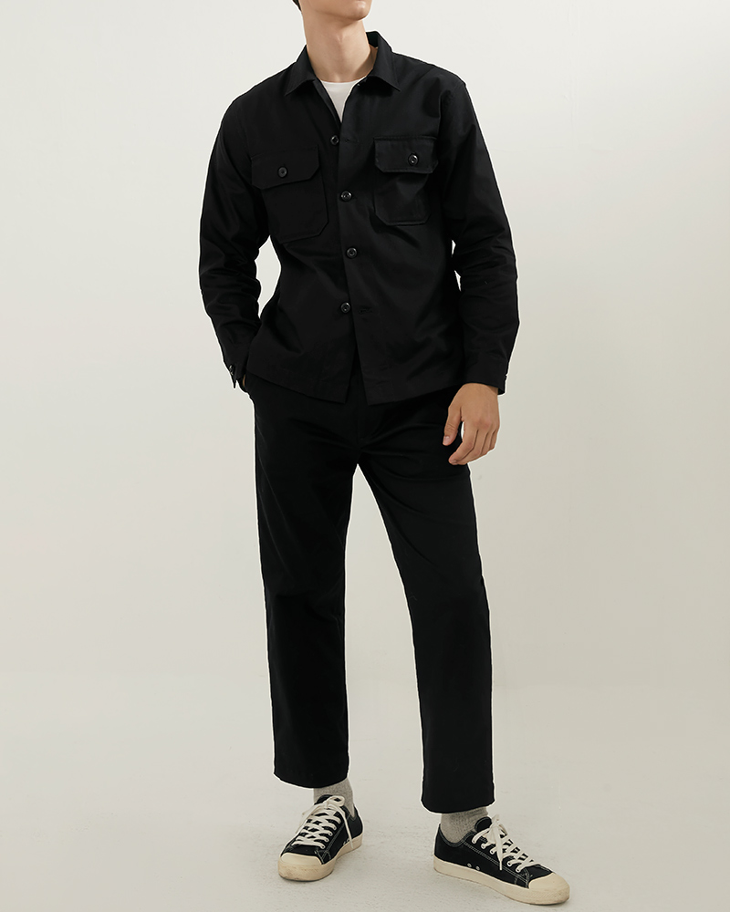 CPO Cotton-Twill Overshirt in Black Color