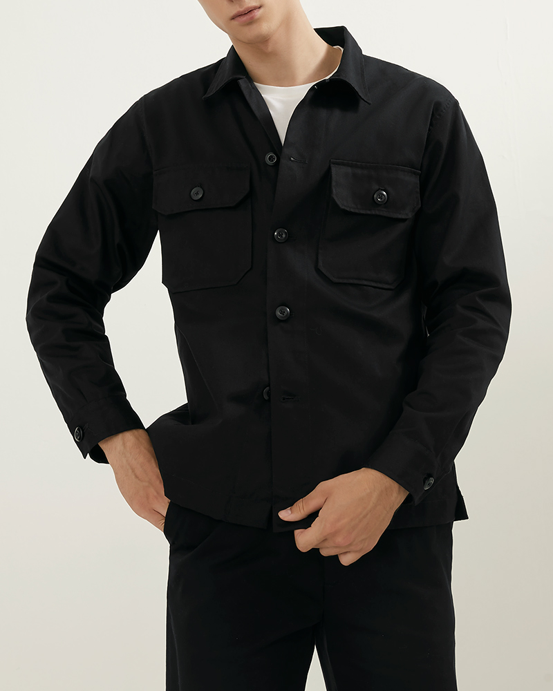 CPO Cotton-Twill Overshirt in Black Color - Flap Pockets Details