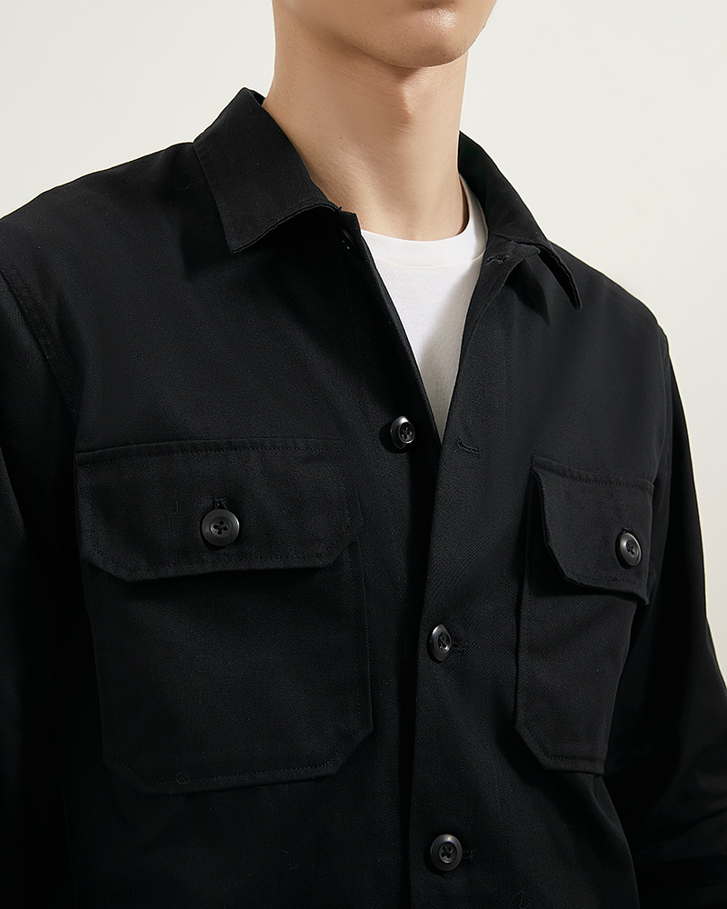CPO Cotton-Twill Overshirt in ฺBlack Color - Flap Pockets Details
