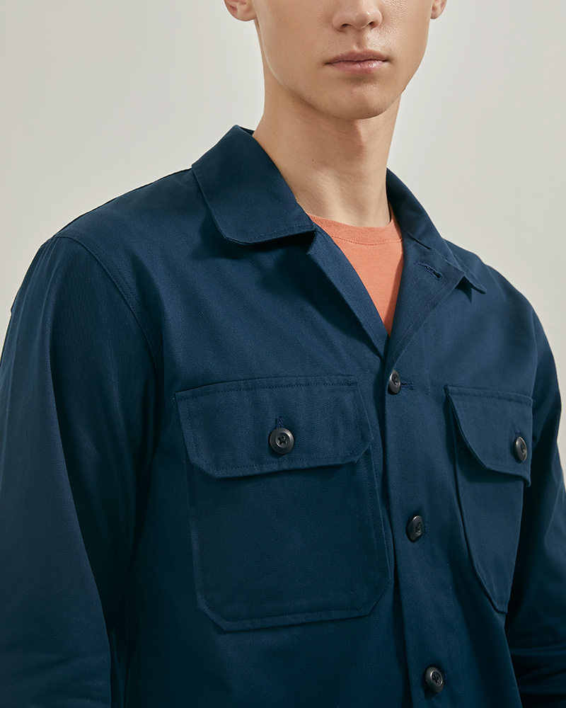 CPO Cotton-Twill Overshirt in Navy Color - Flap Pockets Details