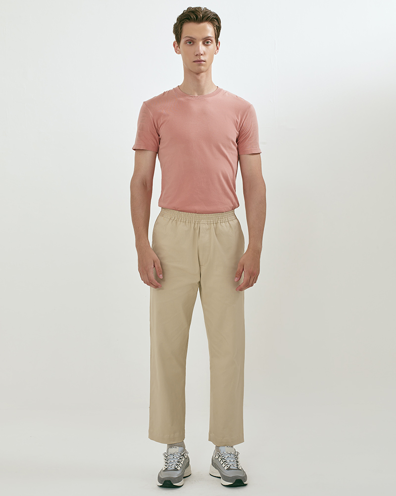 Elasticated Cotton-Twill Trouser in Beige