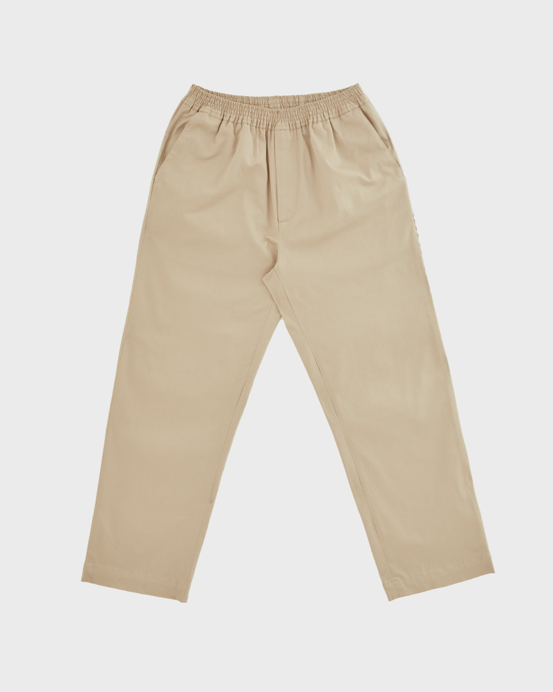 Elasticated Cotton-Twill Trouser in Beige - Pack Shot