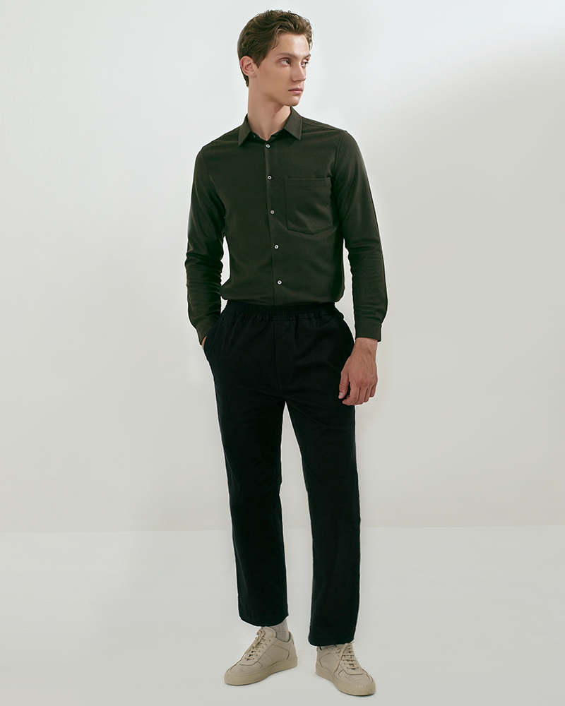 Elasticated Cotton-Twill Trouser in Black