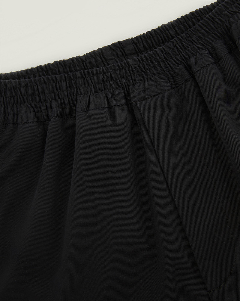 Elasticated Cotton-Twill Trouser in Black - Details