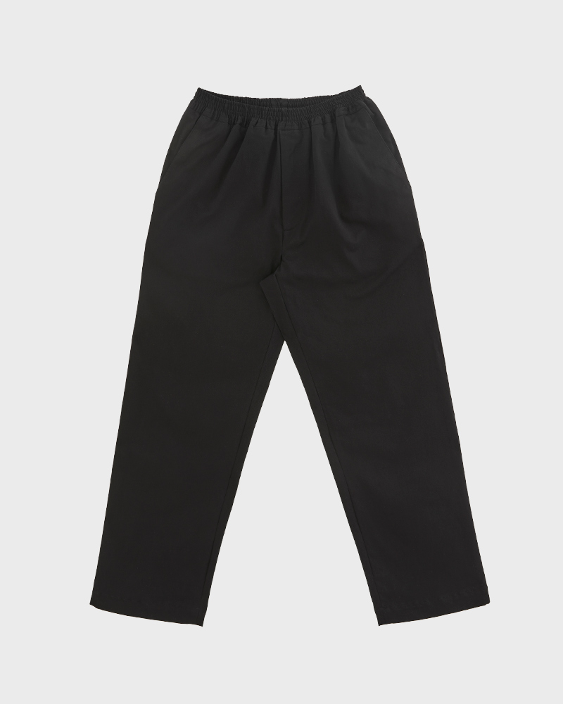 Elasticated Cotton-Twill Trouser in Black - Pack Shot