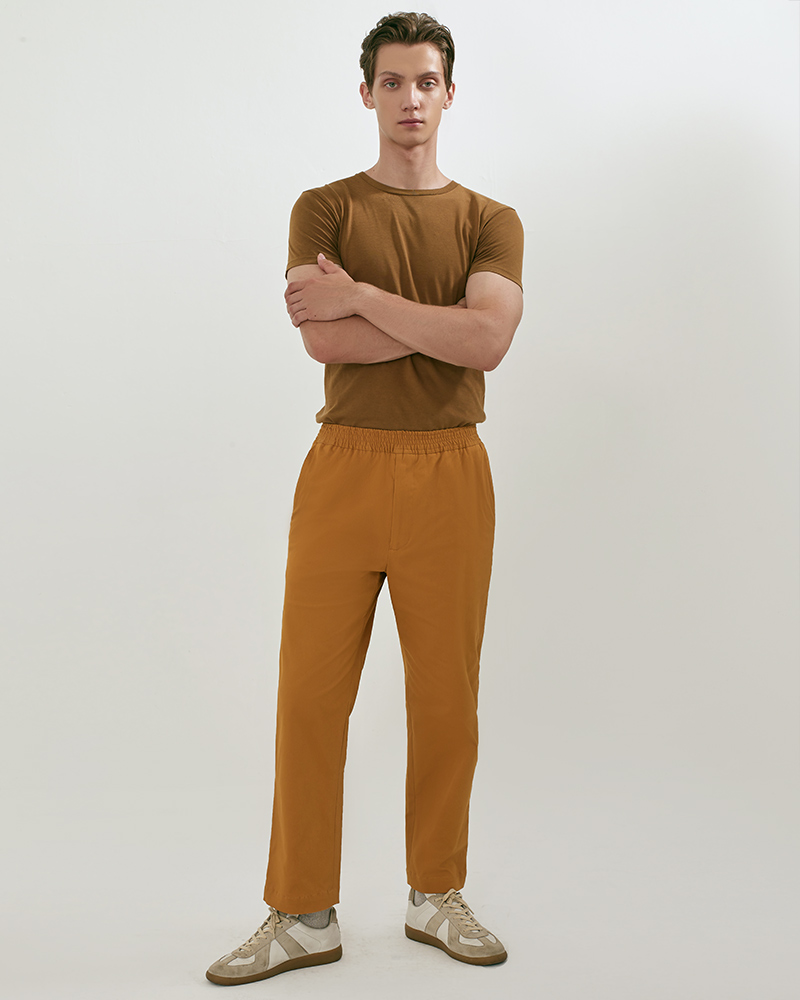 Elasticated Cotton-Twill Trouser in Mustard