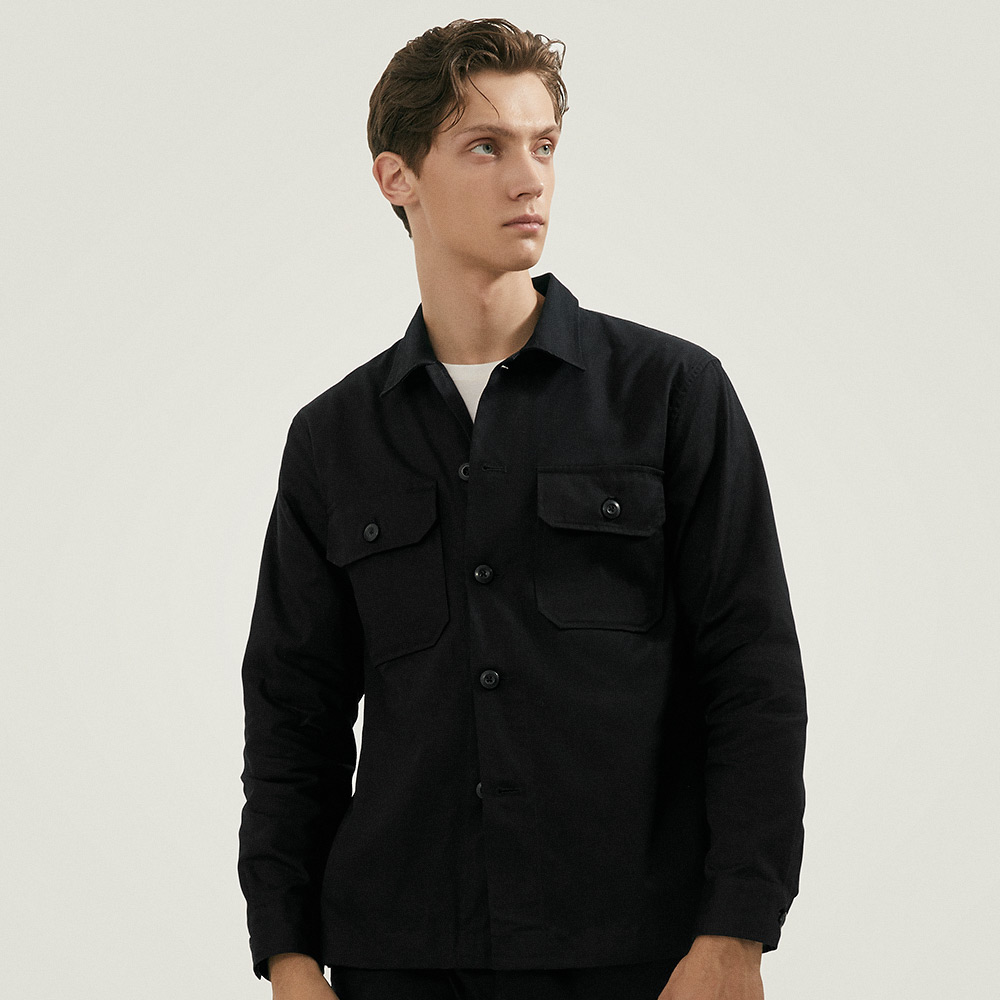 CPO Cotton-Twill Overshirt in Black - Homepage Banner