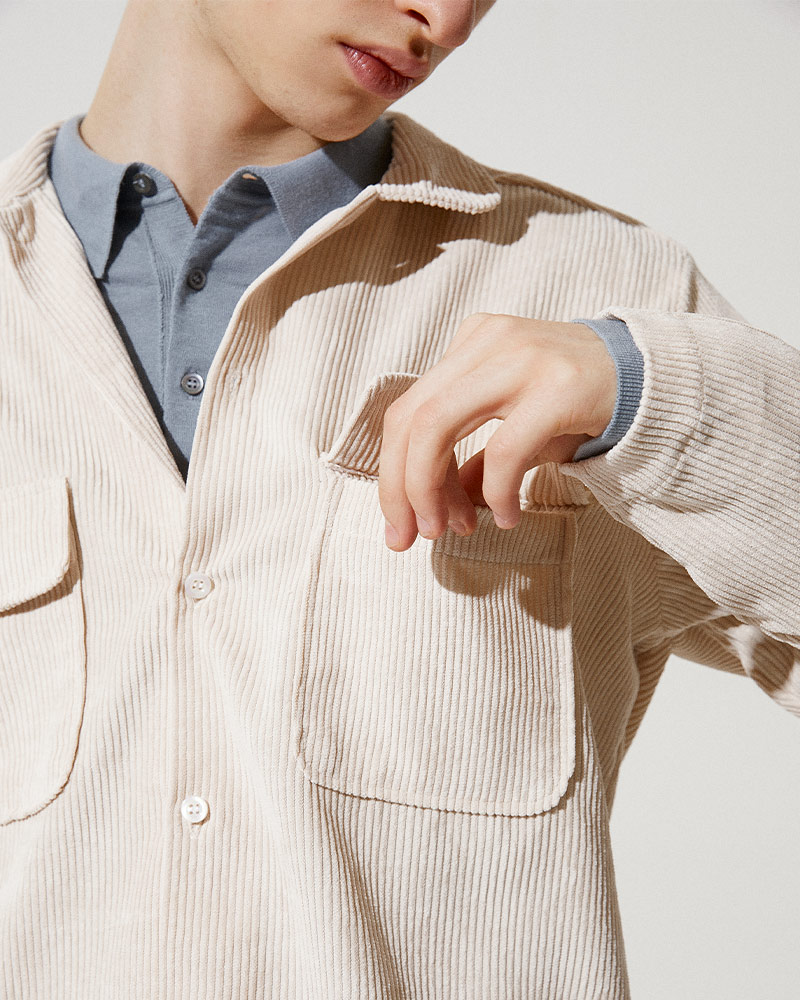 Corduroy Field Jacket in White - Flap Pockets Details Image