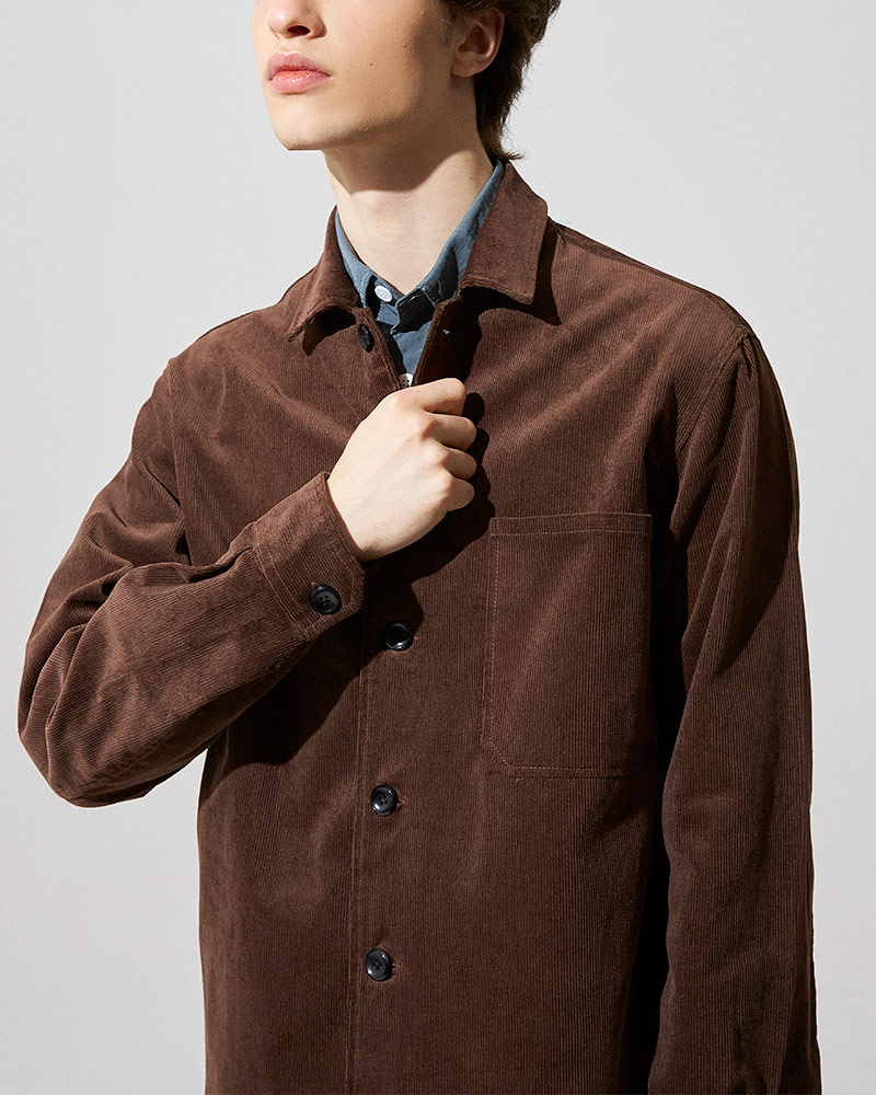 Corduroy Overshirt in Brown - Fabric Details