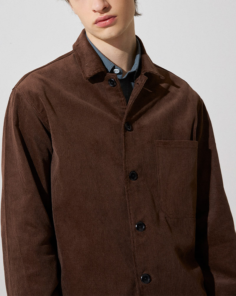Corduroy Overshirt in Brown - Pocket Details