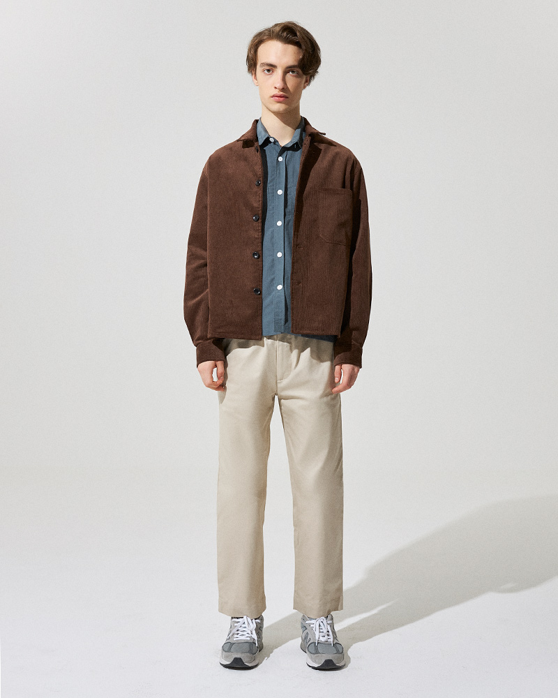Corduroy Overshirt in Brown - Front Image