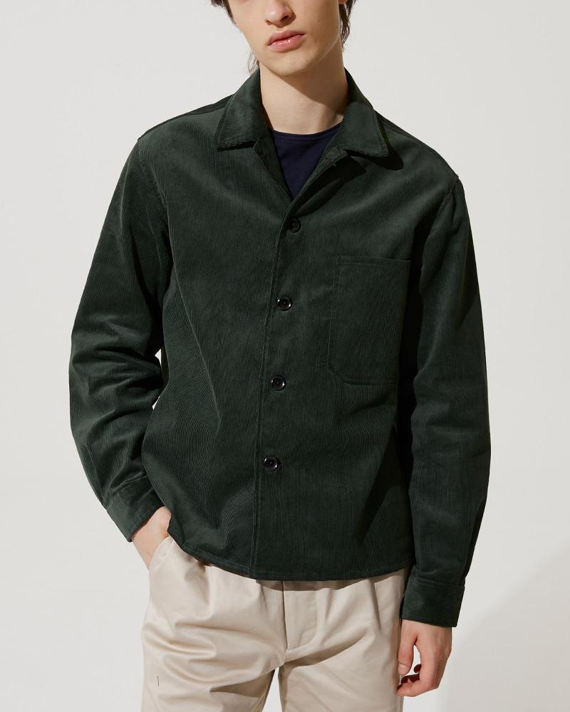 Corduroy Overshirt in Green - Fabric Details