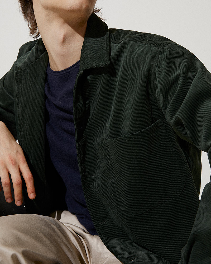 Corduroy Overshirt in Green - Pocket Details