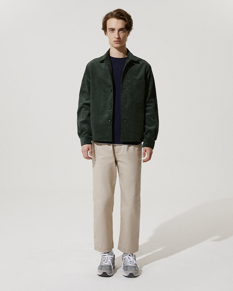 Corduroy Overshirt in Green - Front Image