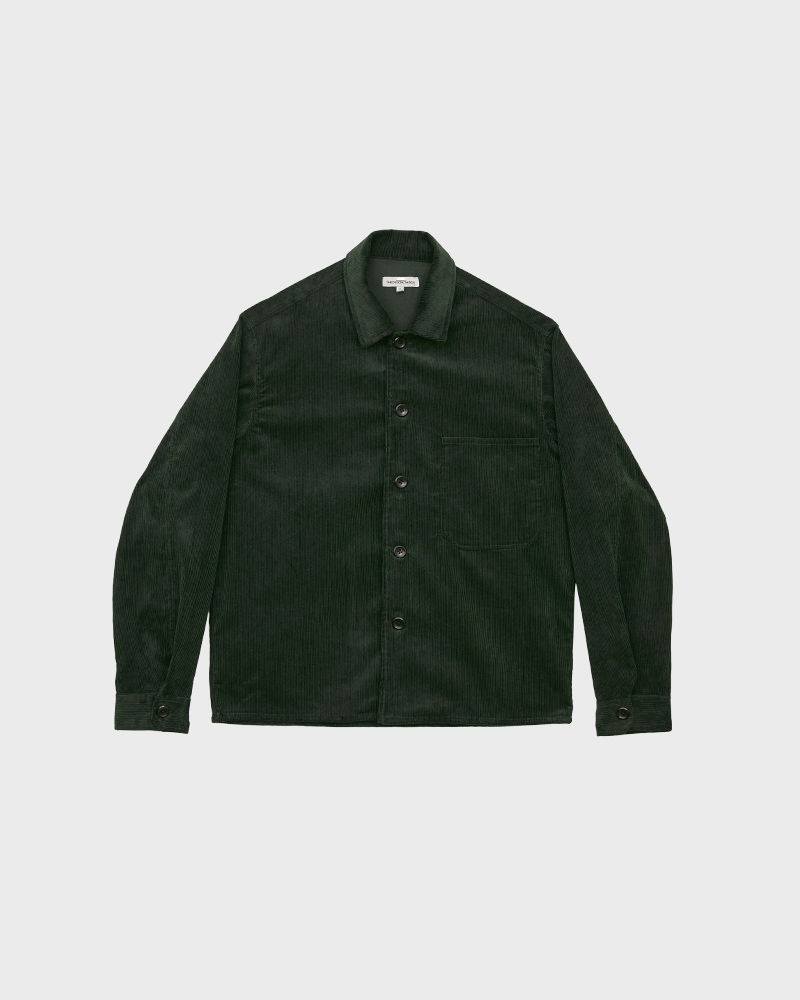 Corduroy Overshirt in Green - Pack Shot