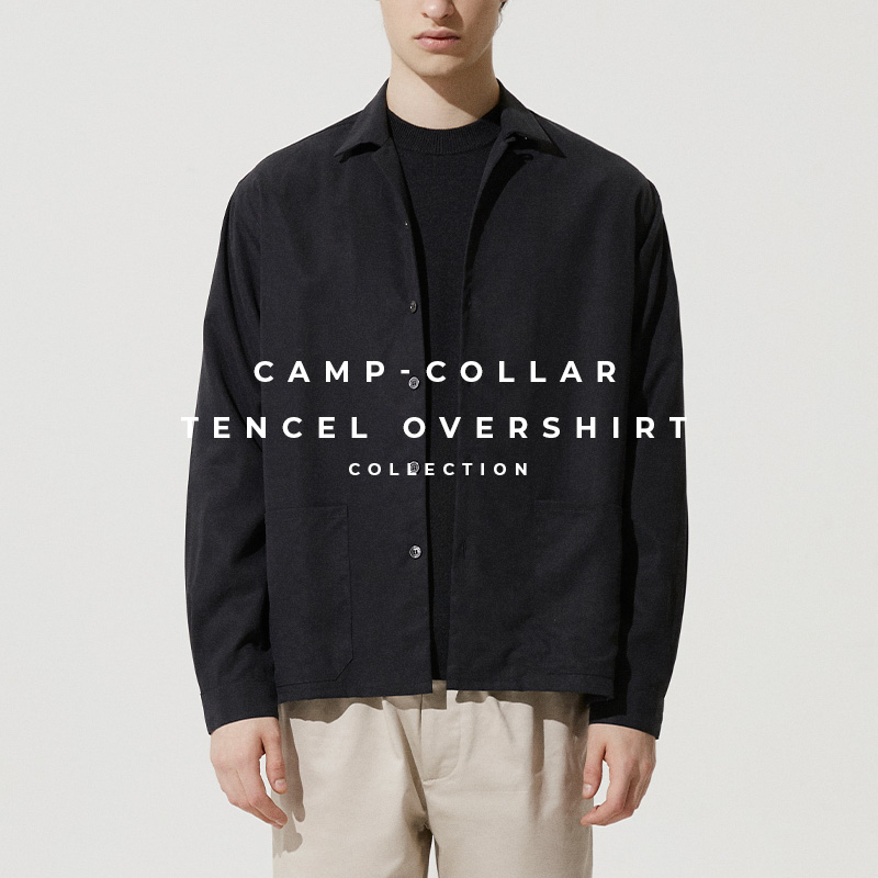 Camp Collar Tencel Overshirt in Black - Lookbook Cover