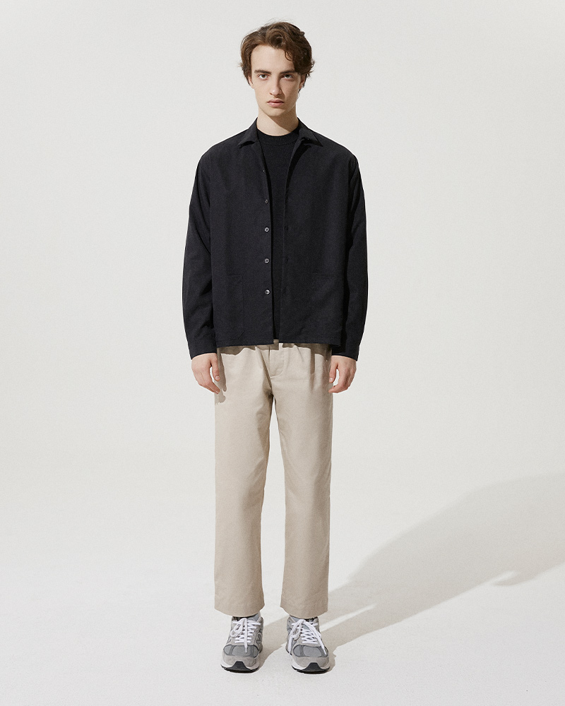 Camp-Collar Tencel Overshirt in Black - Front Image