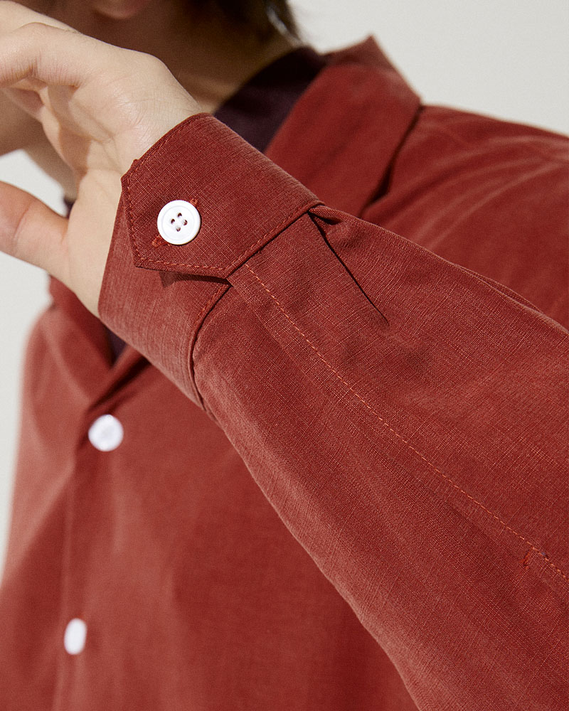 Camp-Collar Tencel Overshirt in Red - Buttoned Cuffs Detail Image