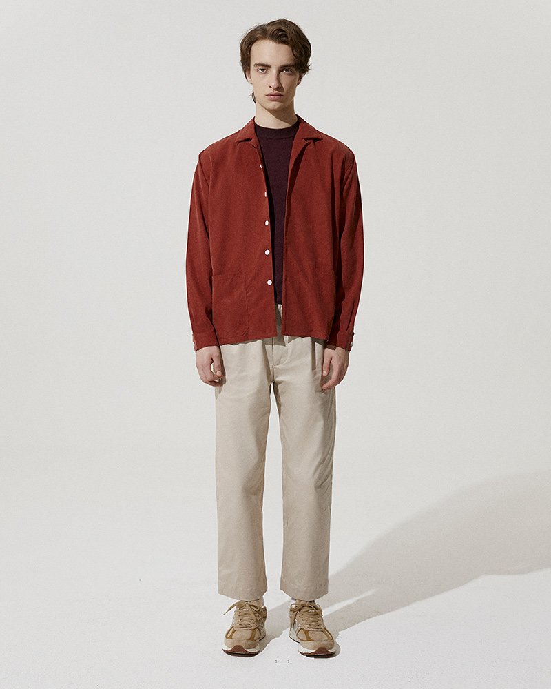 Camp-Collar Tencel Overshirt in Red - Front Image