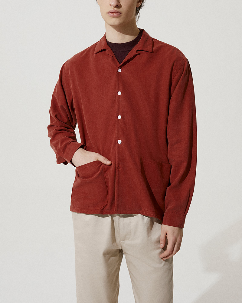Camp-Collar Tencel Overshirt in Red - Hip Pockets Detail Image