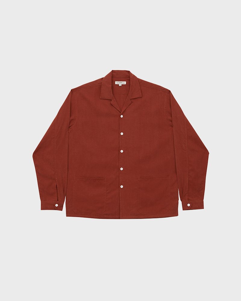 Camp-Collar Tencel Overshirt in Red - Pack Shot