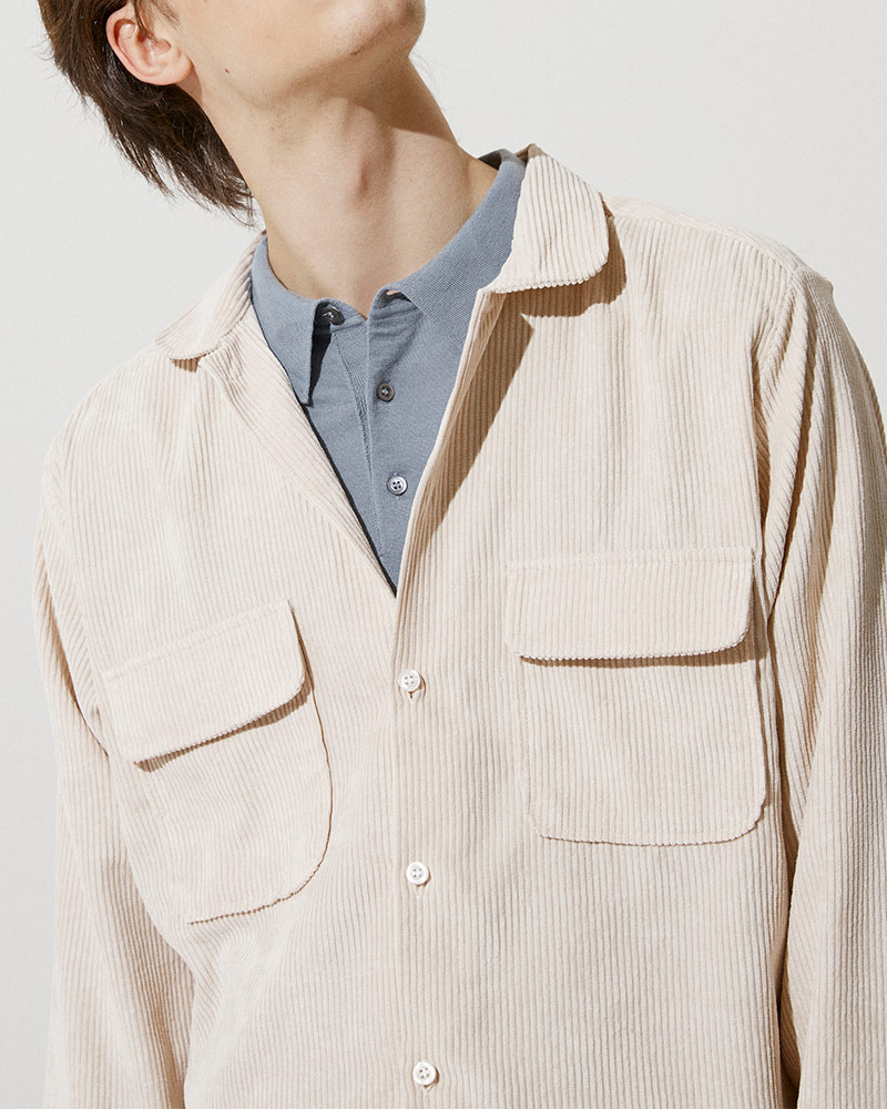 Corduroy Field Jacket in White - Flap Pockets Details Image 2