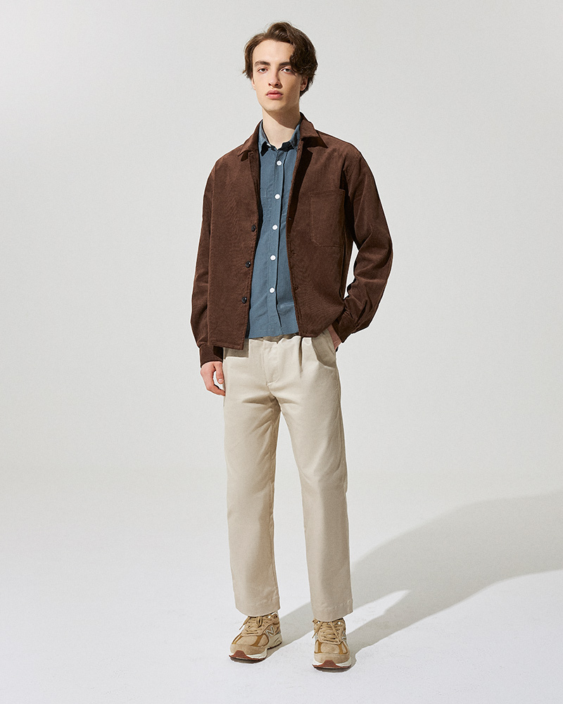 Corduroy Overshirt in Brown - Front Image 2