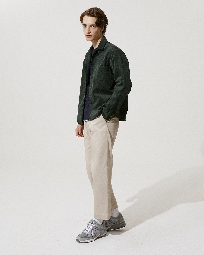 Corduroy Overshirt in Green - Side Image 2