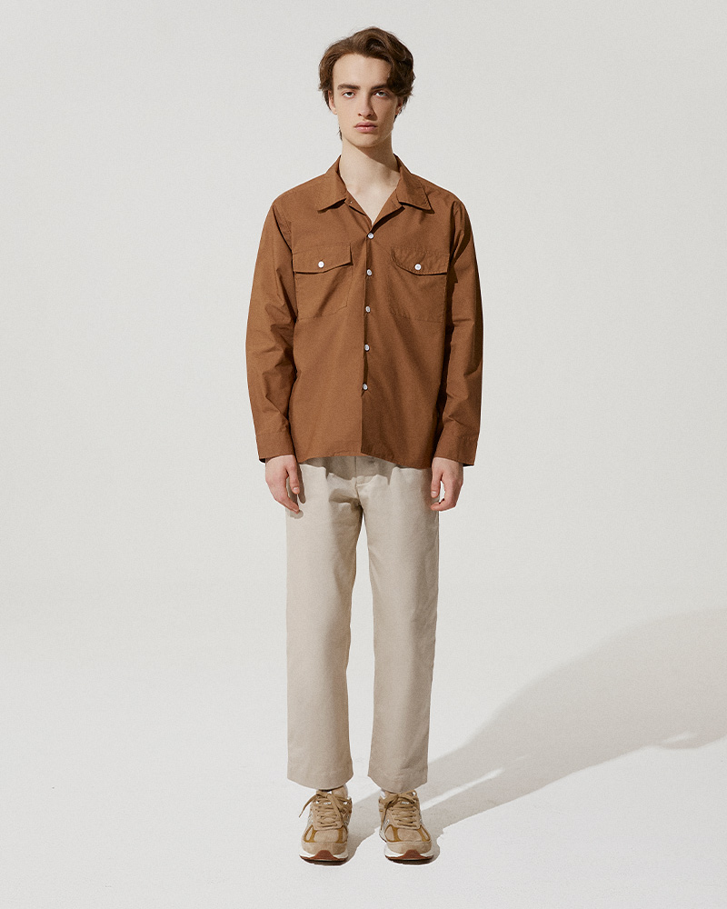 Camp-Collar Overshirt in Brown - Front