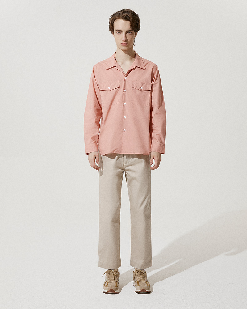 Camp-Collar Overshirt in Pink - Front