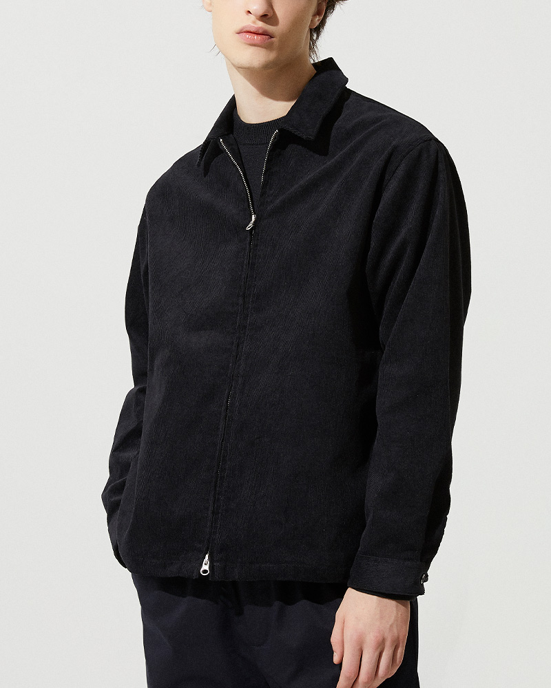 Corduroy Zip Jacket in Black - 2 Ways Zipper Detail - 2