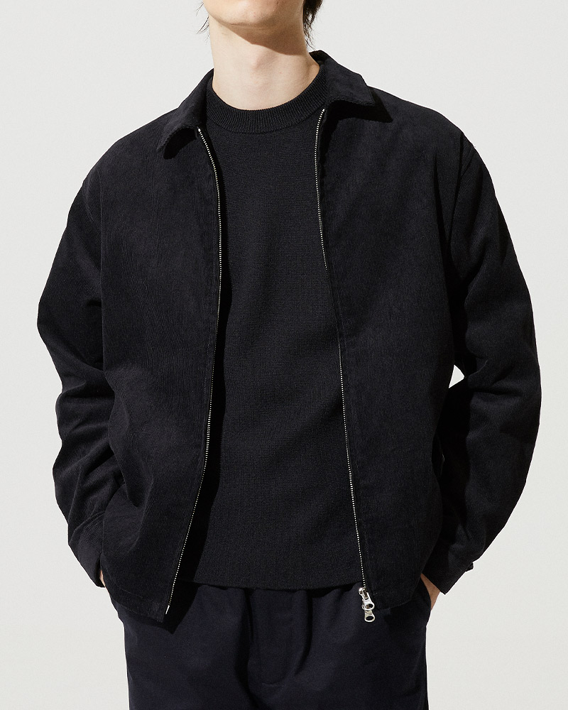 Corduroy Zip Jacket in Black - 2 Ways Zipper Detail