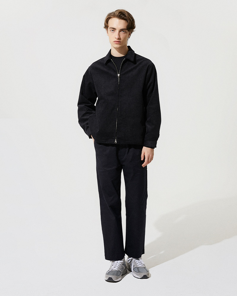 Corduroy Zip Jacket in Black - Front Image 2