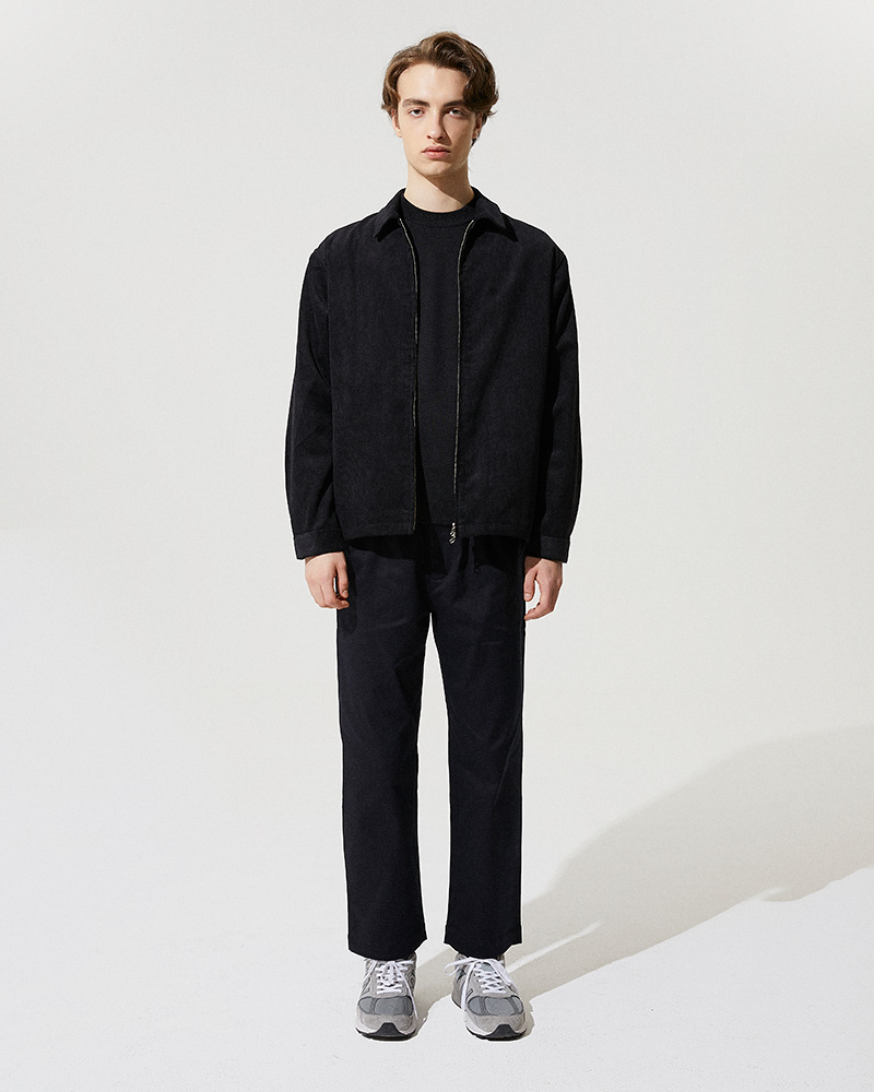 Corduroy Zip Jacket in Black - Front Image