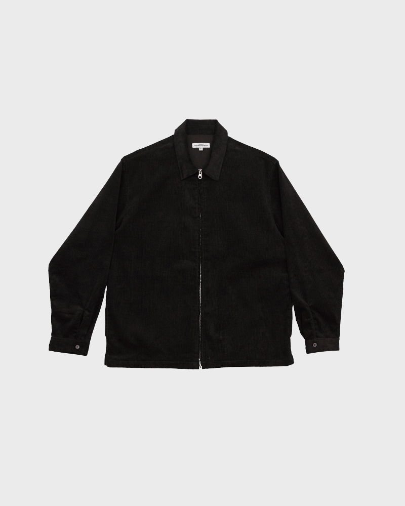Corduroy Zip Jacket in Black - Pack Shot