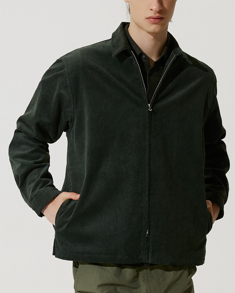 Corduroy Zip Jacket in Green - 2 Ways Zipper Detail