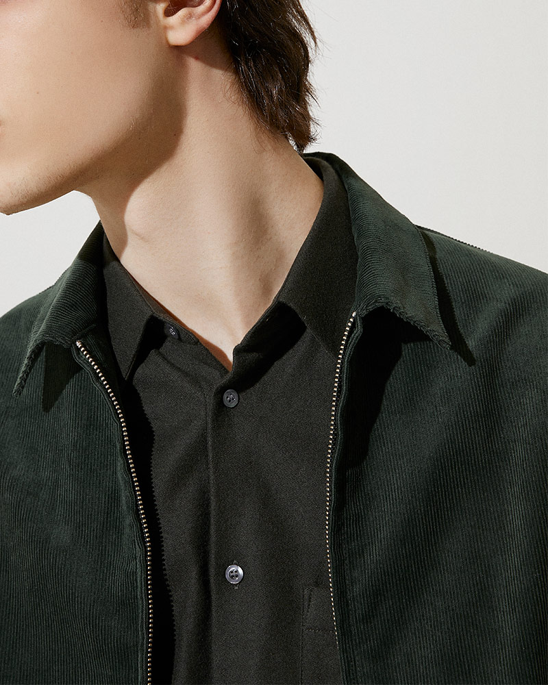 Corduroy Zip Jacket in Green - Collar Detail