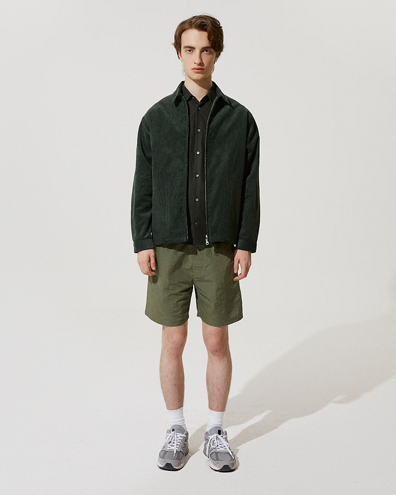 Corduroy Zip Jacket in Green - Front Image