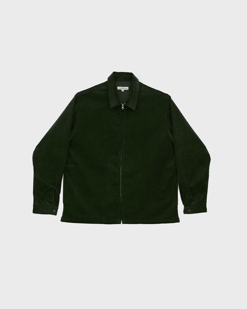 Corduroy Zip Jacket in Green - Pack Shot